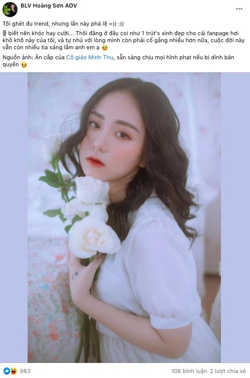 """BLV Liên Quân công khai chuyện """"ăn cắp"""" ảnh cô giáo Minh Thu làm content, sẵn sàng chịu phạt nếu bị kiện vi phạm bản quyền"""