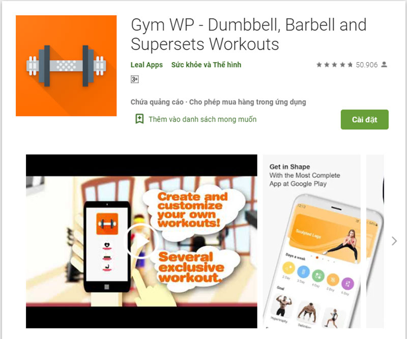 App tập thể dục Gym Wp