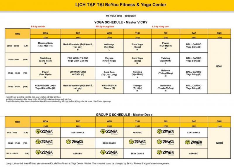 Lịch tập tại BeYou Fitness & Yoga Center