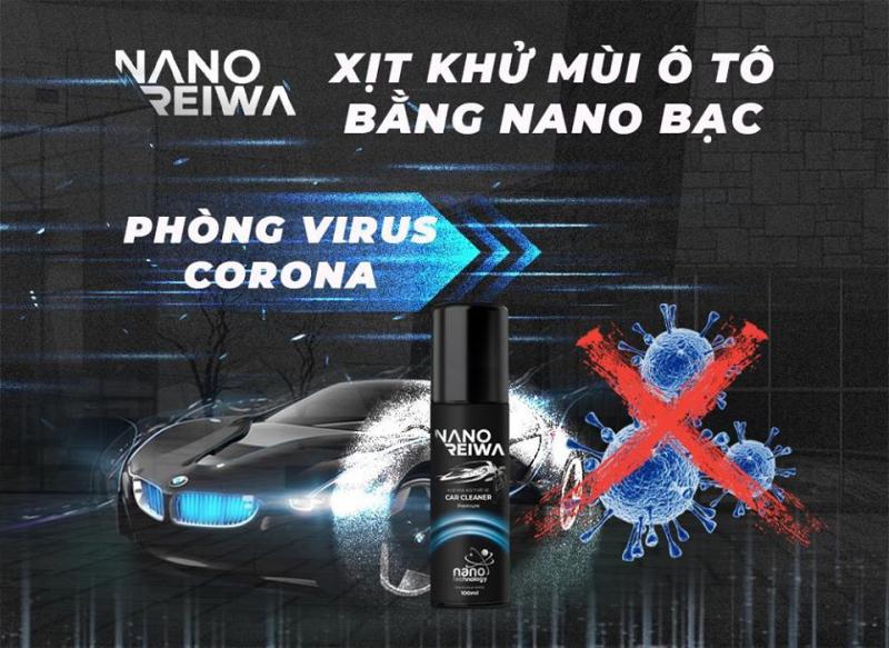 Chai xịt diệt khuẩn khử mùi nội thất xe hơi Nano Reiwa