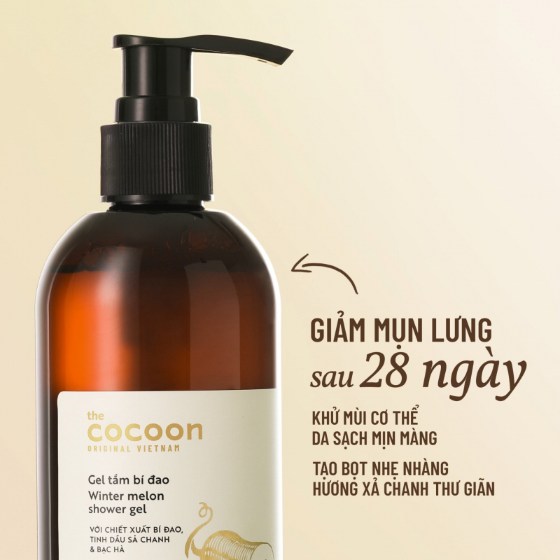 Gel Tắm Cocoon Winter Melon Reducing Back Acne