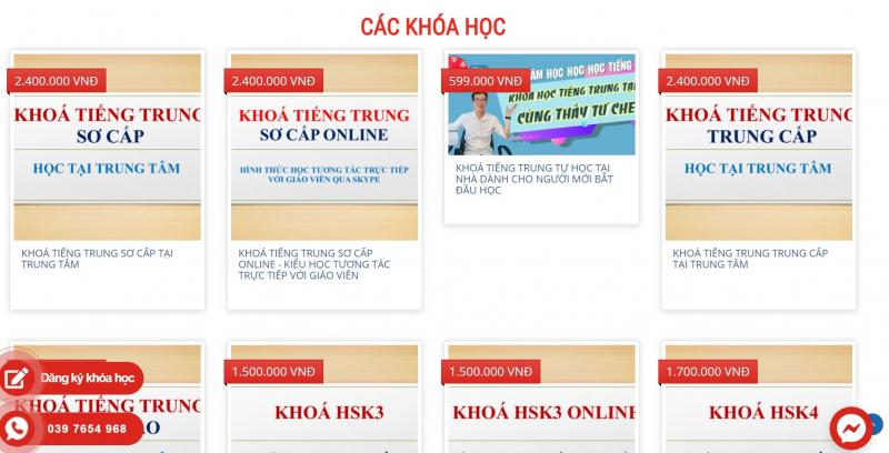 Giao diện website Trung tâm Học Học Học Tiếng Trung
