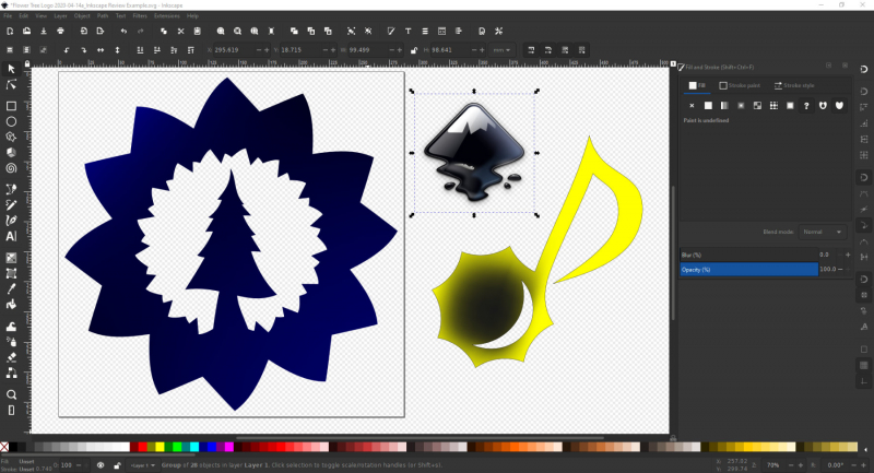 Inkscape có đầy đủ các cộng cụ để bạn thao tác và xử lý đồ họa vector, như shapes, văn bản hoặc bitmaps