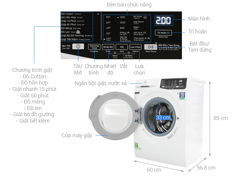 Máy giặt Electrolux Inverter 8 kg EWF8025CQWA