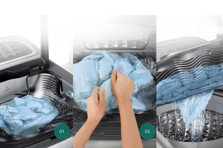 Công nghệ giặt Activ Dualwash của máy giặt Samsung 9 kg WA90J5710SG/SV