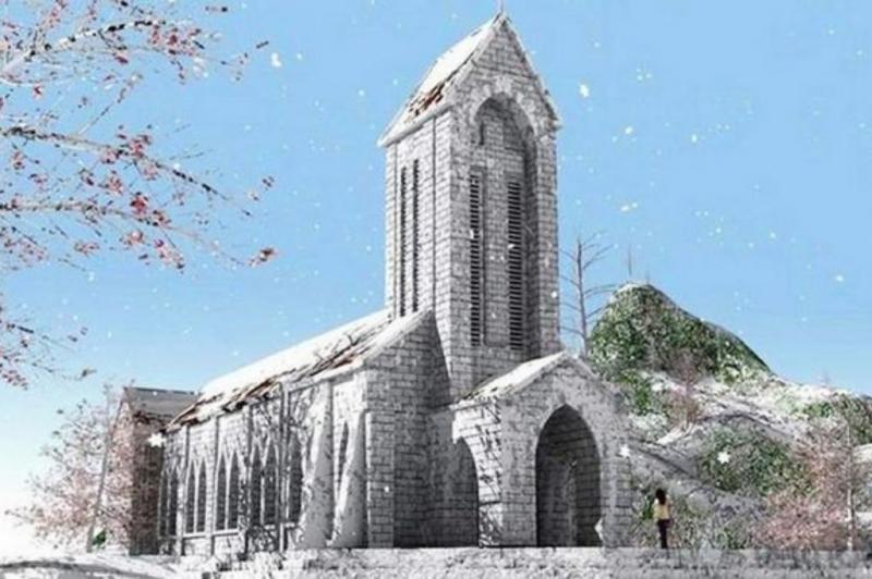 Nhà thờ Sa Pa vào buổi sáng mùa đông
