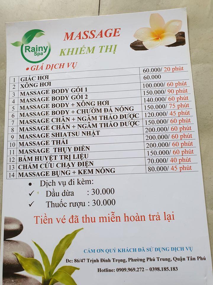 Rainy Spa Massage Khiếm Thị Quận Tân Phú cung cấp dịch vụ massage trọn gói giúp bạn thư giãn toàn thân