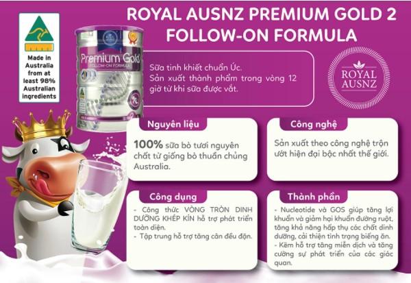 Sữa tăng cân cho bé Royal Ausnz Premium Gold 2
