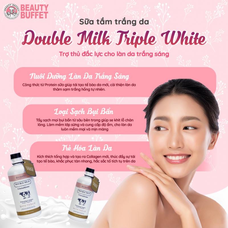 Sữa tắm trắng da con bò Thái Lan Beauty Buffet Scentio Double Milk 350ml