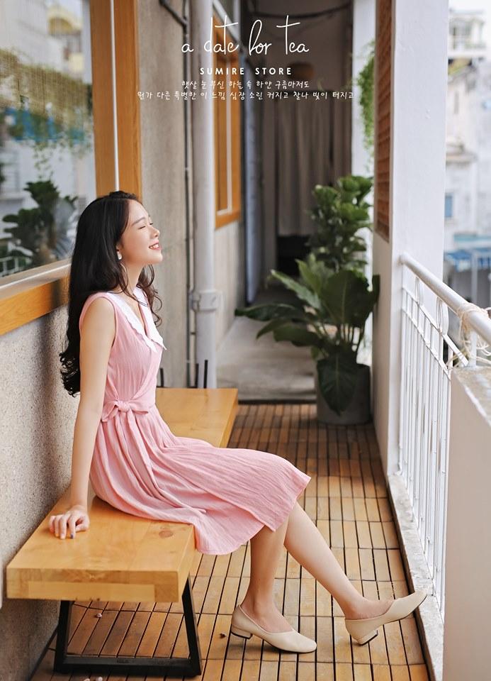 Đầm hanbok dạng wrapdress, chất liệu linen, cổ phối vải ren