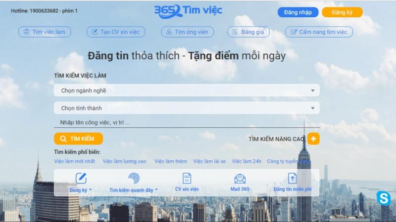 Việc tìm người mới nhất tại Timviec365