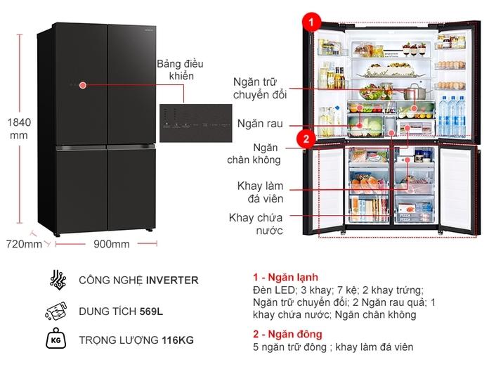 Tủ lạnh Hitachi Inverter 569 lít R-WB640VGV0-GMG
