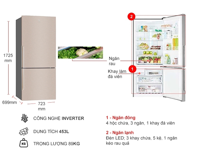Tủ lạnh Inverter ngăn đá dưới 421 lít EBE4500B-G