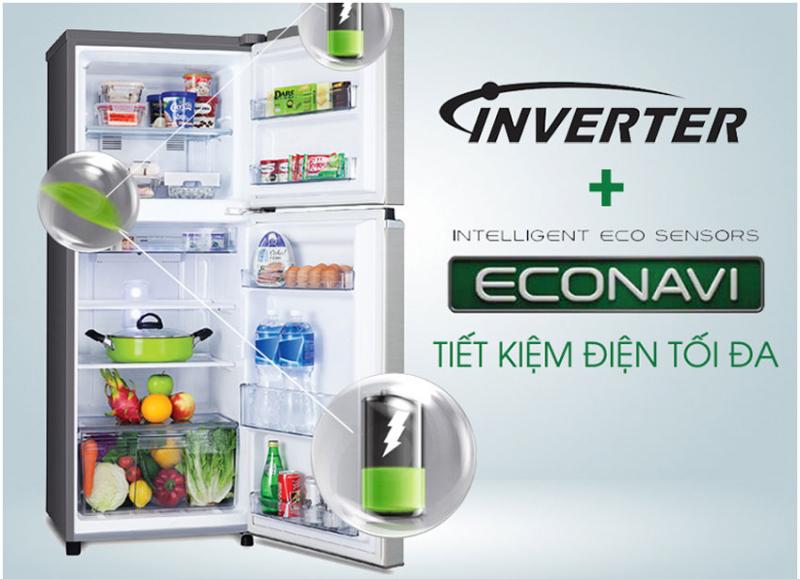 Tủ lạnh Panasonic NR-BL308PKVN được trang bị bộ cảm biến ECONAVI tiên tiến với 3 loại cảm biến hỗ trợ tối đa cho người dùng