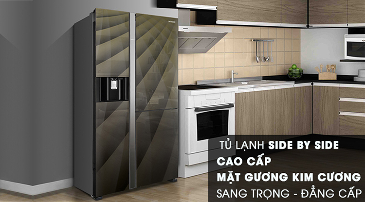 Tủ Lạnh Side By Side Inverter Hitachi R-FM800AGPGV4X-DIA