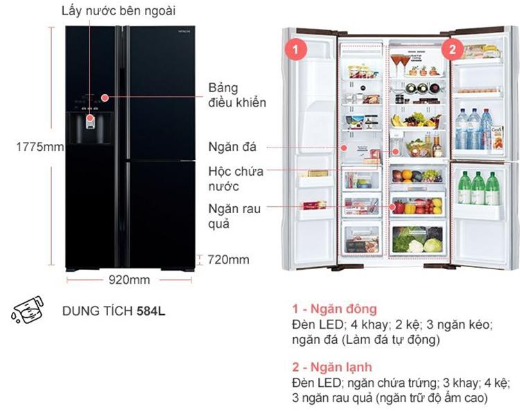 Tủ Lạnh Side By Side Inverter Hitachi R-FM800GPGV2-GBK