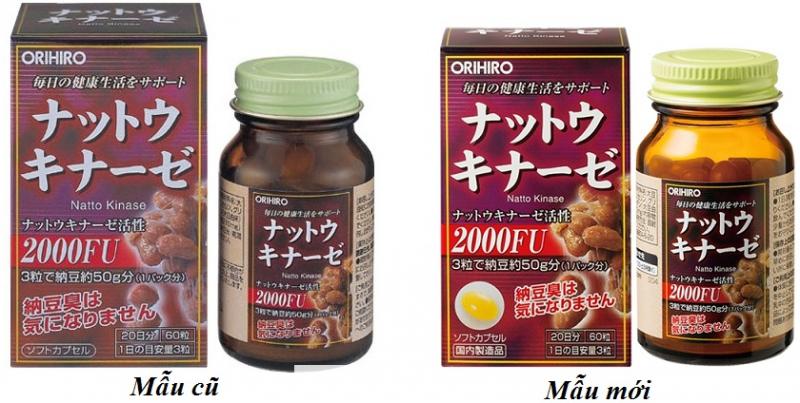 Viên uống hỗ trợ điều trị tai biến Nattokinase 2000FU Orihiro mẫu cũ và mẫu mới
