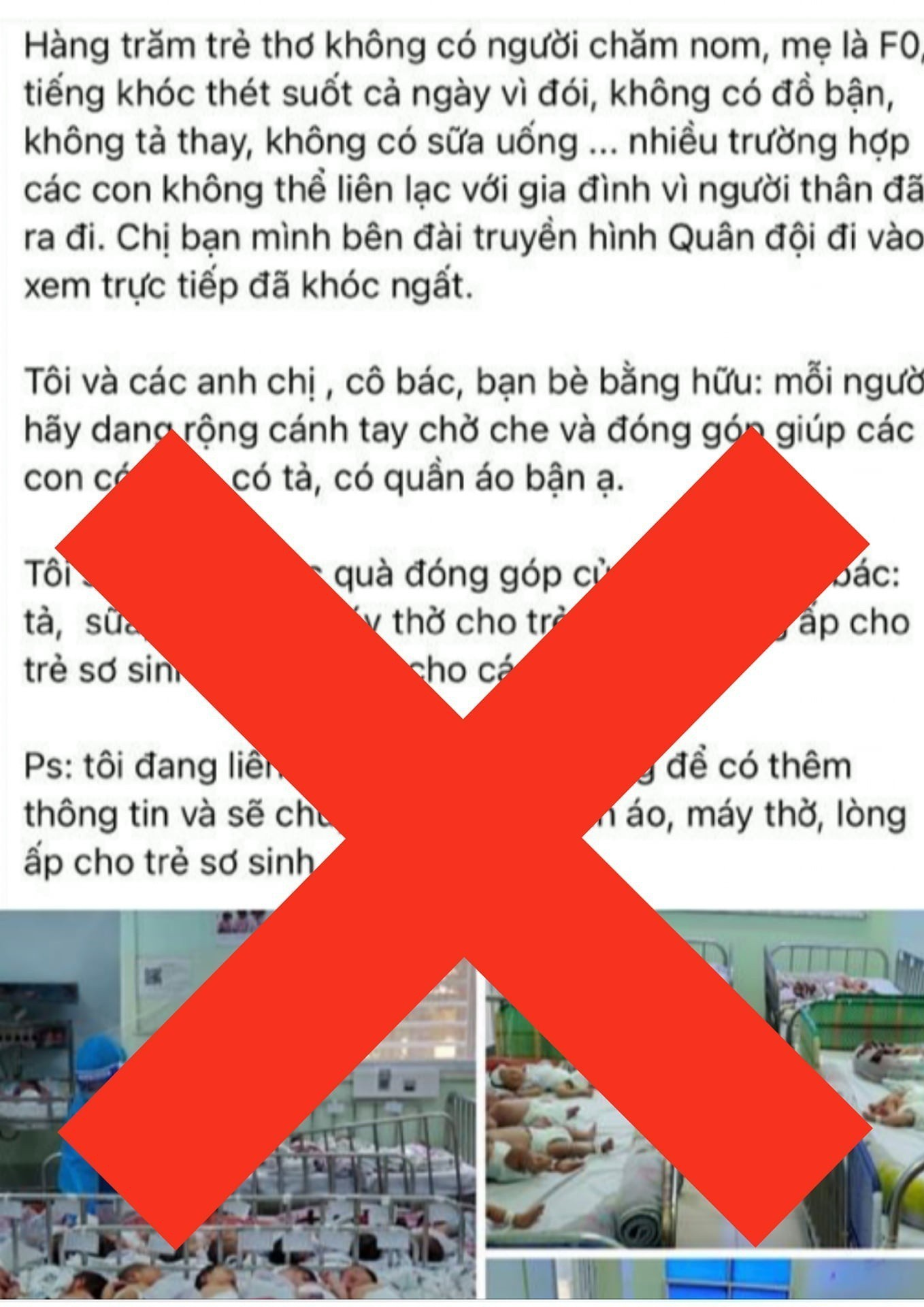 Bệnh viện Hùng Vương bác thông tin các bé F1 thiếu tã, sữa