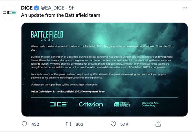 Battlefield 2042 rốt cục vẫn chưa thể trình làng như đã hẹn