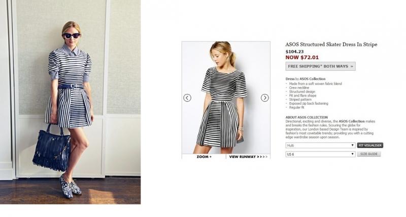 Fashion icon Olivia Palermo, người vốn nổi tiếng với tủ quần áo đồ sộ với những món đồ xa xỉ đã gây ngạc nhiên khi mặc váy của ASOS với giá gốc là 104$ (~ 2,2 triệu VNĐ).