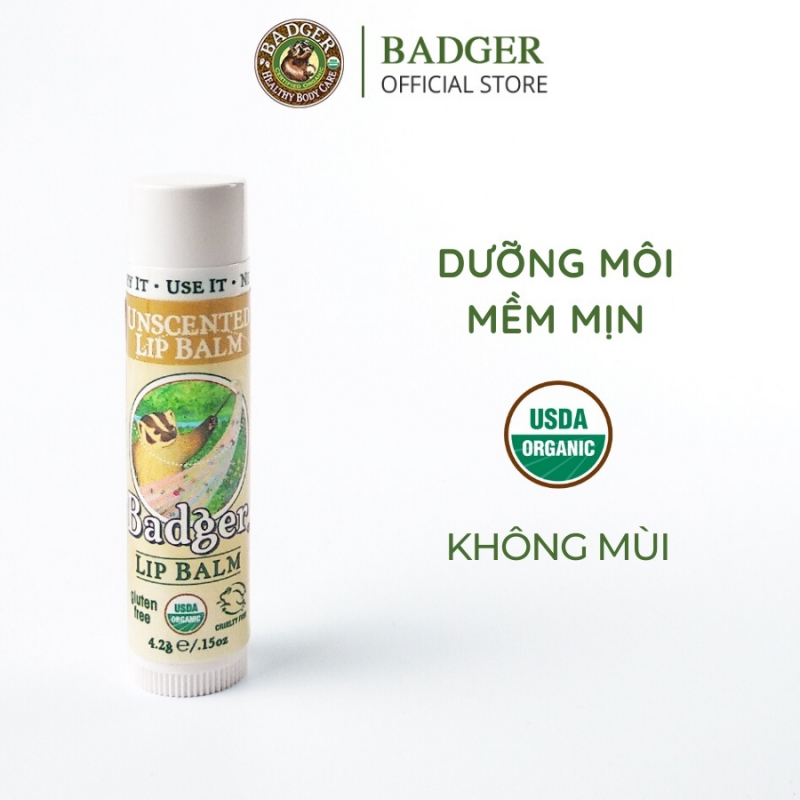 Badger Classic Unscented Lip Balm USDA Organic