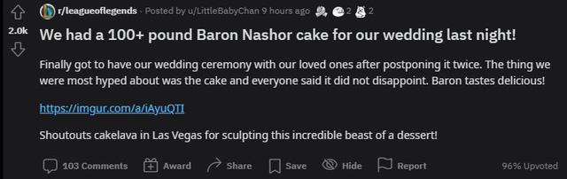 Quá đam mê LMHT, một nữ game thủ quyết định dùng bánh Baron phiên bản nặng hơn 45kg làm bánh cưới