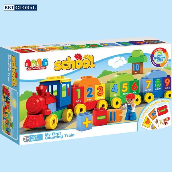 Đồ chơi xếp hình cho bé đoàn tàu cho bé trai 1 tuổi
