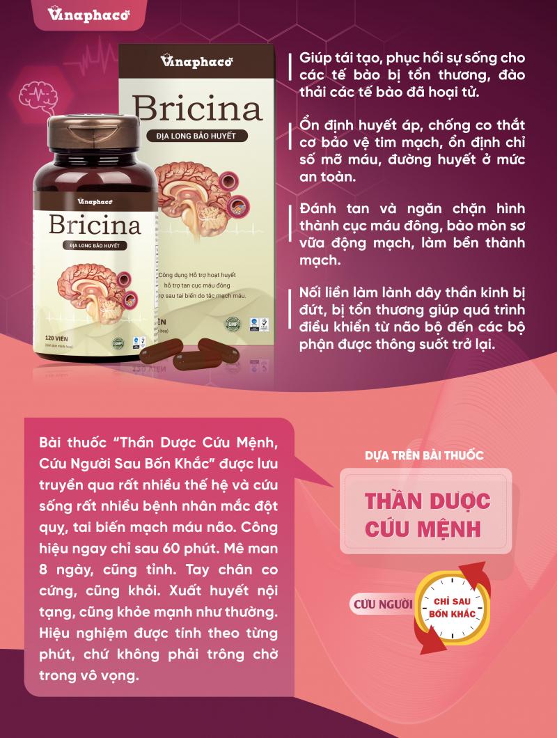 """Bricina (Địa Long Bảo Huyết) được gi trong các cuốn dược liệu là bài thuốc quý """"Thần dược cứu mệnh, cứu người trong bốn khắc"""""""