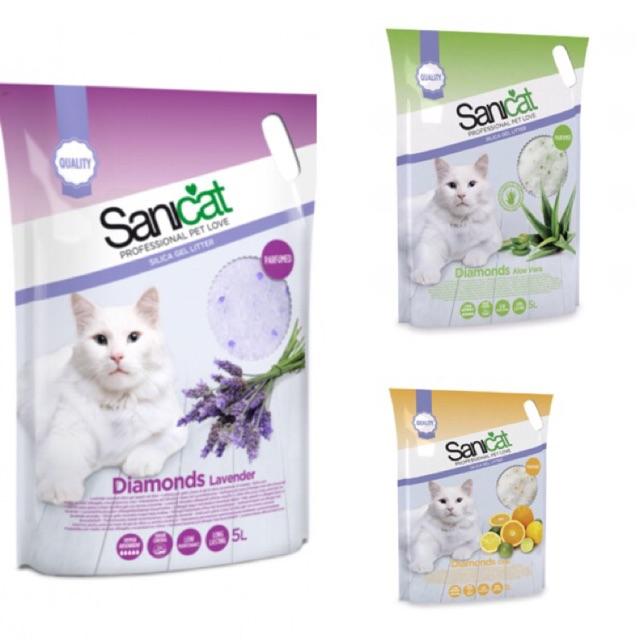 Cát thủy tinh hút ẩm cho mèo Sanicat
