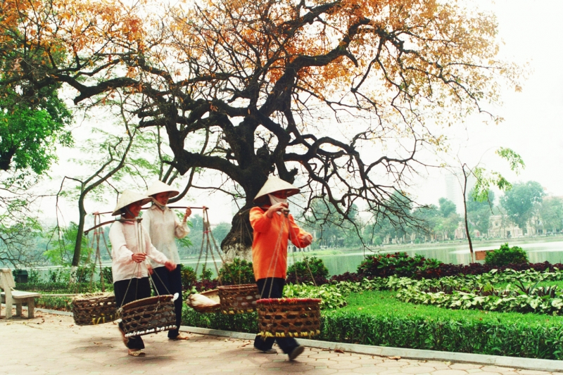 Những cô bán cốm trên phố phường Hà Nội