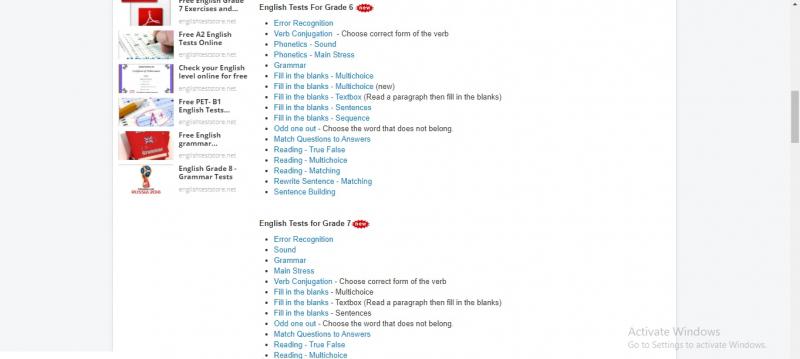 Các dạng bài tập trên English Test Store