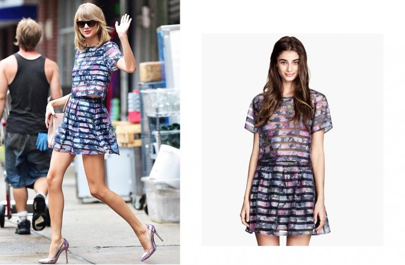 Taylor Swift từng xuống phố với một set đồ matchy-matchy họa tiết hoa vô cùng trẻ trung và tươi tắn. Đây là sản phẩm của H&M được bán riêng rẽ crop top và chân váy với tổng giá chỉ 55$ (hơn 1 triệu VNĐ).
