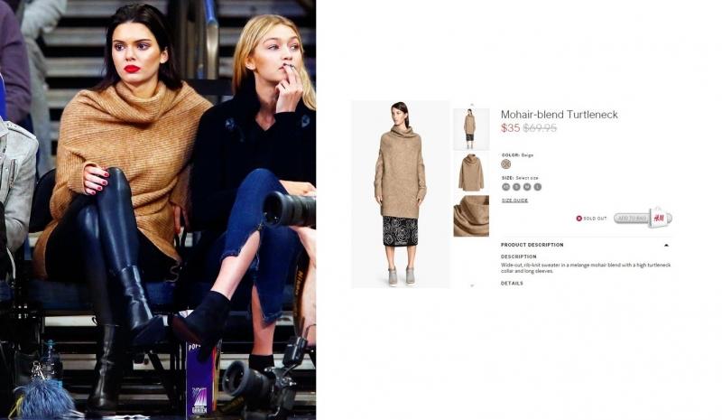 Chiếc áo len oversized rất trendy mà Kendal Jenner mặc đến từ nhãn hàng bình dân H&M. Chiếc áo len oversized màu beige rất sang trọng này có giá gốc 69,95$ (~ 1,5 triệu VNĐ) và từng được giảm giá xuống một nửa.