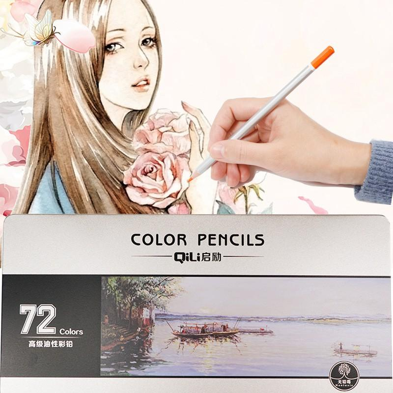 Hộp bút chì màu khô cao cấp Qili 72 màu hộp thiếc