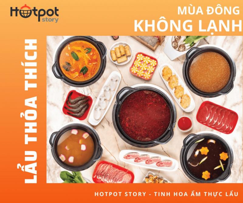 otpot Story có đa dạng các món nướng cùng 5 vị lẩu mang đậm hương vị quốc tế