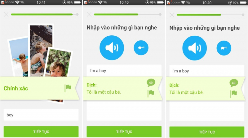 Giao diện các bài học trên Duolingo