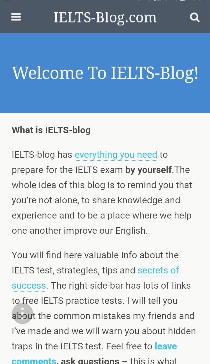 """Ielts-blog là website cực kỳ lâu đời và """"kinh điển"""" trong việc hỗ trợ các thí sinh luyện thi IETLS trực tuyến miễn phí trên toàn Thế giới."""