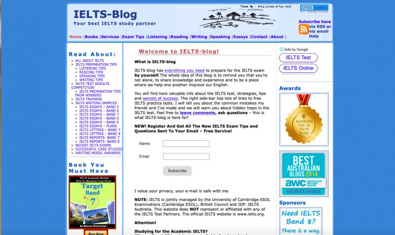 Giao diện của Ielts Blog