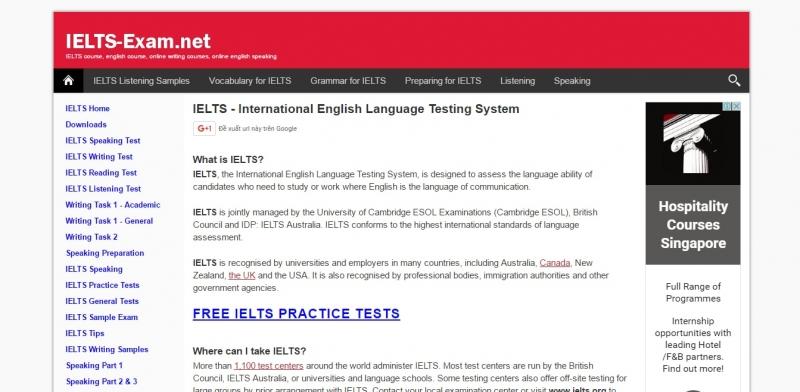 Trang web của IELTS Exam