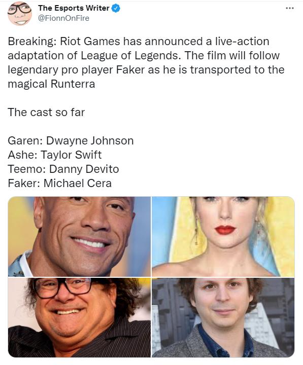 Rộ tin Riot sắp làm phim live-action LMHT về Faker, có cả The Rock và Taylor Swift, nhưng vai Quỷ Vương lại gây tranh cãi