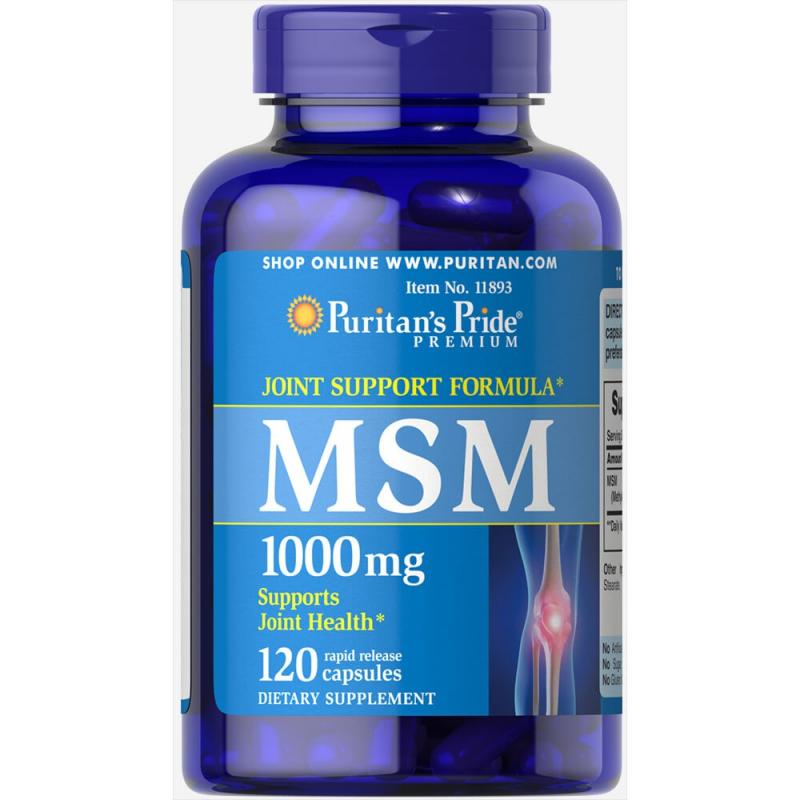 MSM giảm nhức cơ xương khớp, thoát vị đĩa đệm từ thảo dược Puritan's Pride MSM