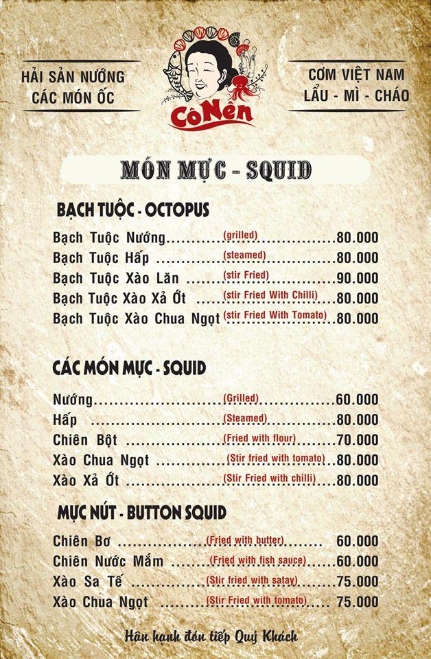 Một phần menu của Nhà hàng nướng cô Nên