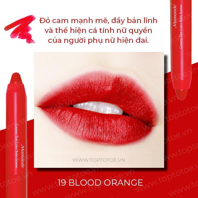 Son bút chì 3 in 1 cho bờ môi mềm mượt Mamonde Creamy Tint Color Balm Intense màu No.19 Blood Orange (Đỏ cam)