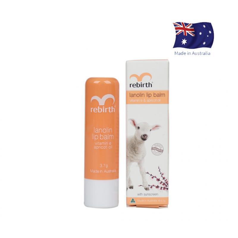 Son dưỡng ẩm nhau thai cừu Rebirth Lanolin Lip Balm with Vitamin E & Apricot Oi