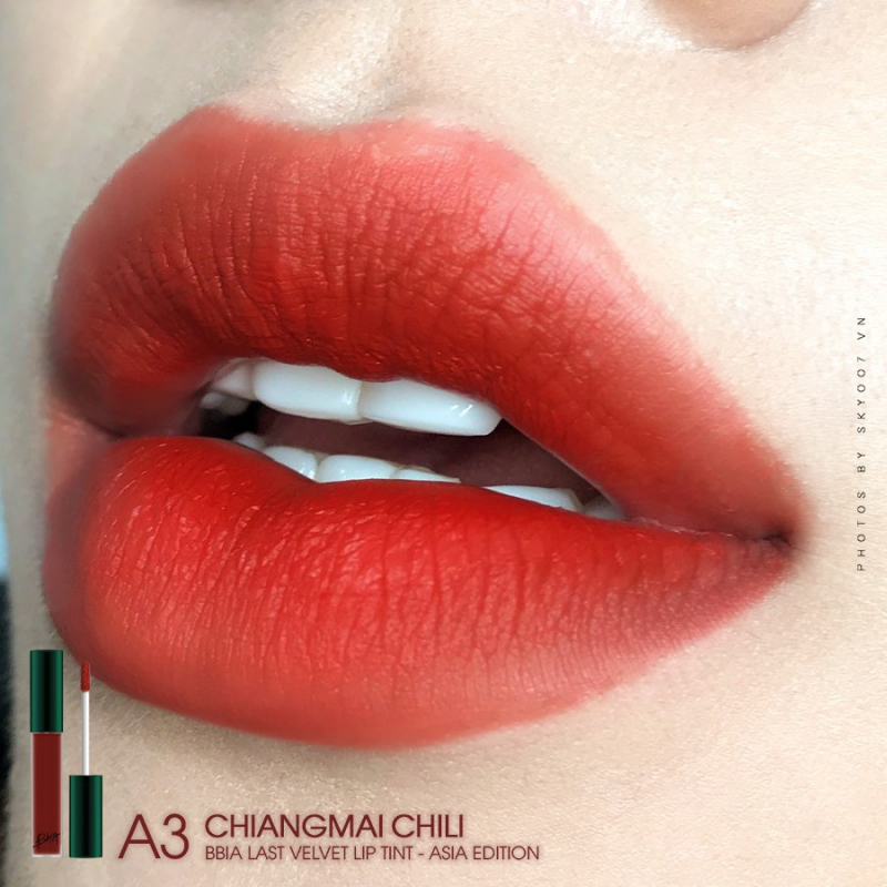 Son kem lì Bbia Last Velvet Lip Tint ASIA EDITION - A3 Chiangmai Chili (Đỏ ớt pha nâu)