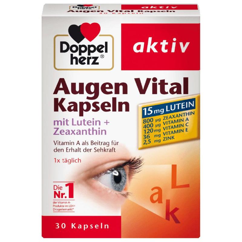 Viên uống tăng cường thị lực, chống mỏi mắt Doppelherz Aktiv Eye Vital Capsules (Hộp 30 viên)