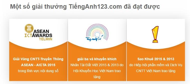 Một số giải thưởng của Tienganh123.com