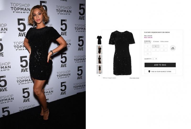 Beyoncé dự tiệc với chiếc váy bodycon lấp lánh sequins và đôi giày Topshop. Giá gốc của chiếc váy đậm chất lễ hội này là 68 Bảng Anh (~ 2,3 triệu VNĐ).