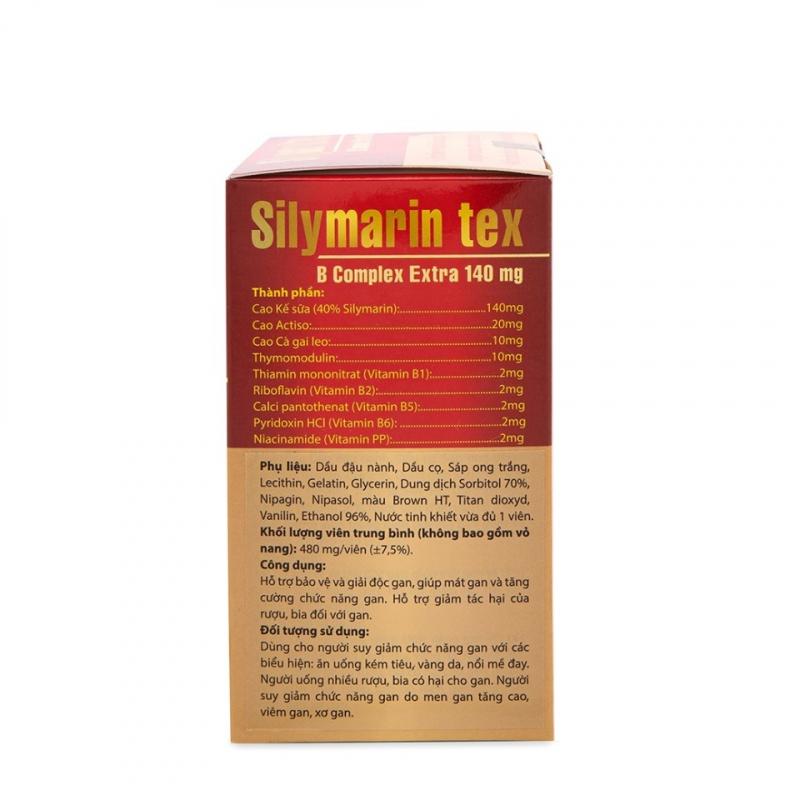 Viên uống bổ gan thảo dược Silymarin Tex giúp mát gan, giải độc gan