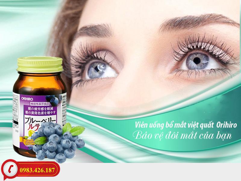 Viên uống bổ mắt việt quất Blueberry Orihiro 120 viên